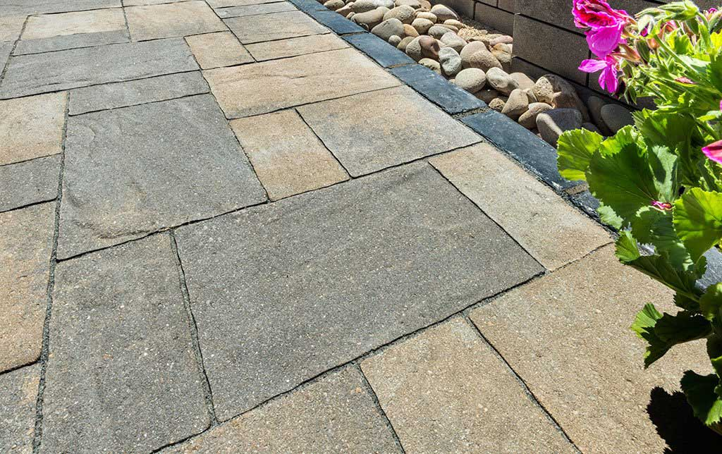 Large classic rectangular pavers used in walkway