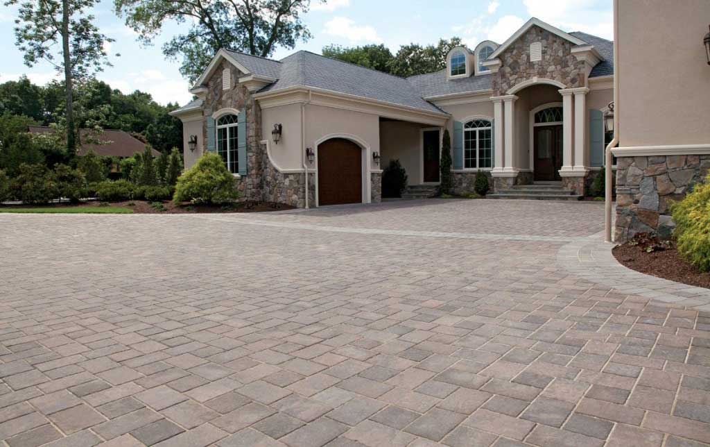 Unilock pavers used for a driveway entrance to home