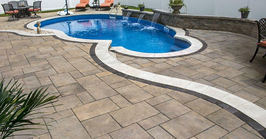 Unilock Treo pavers used for patio around pool