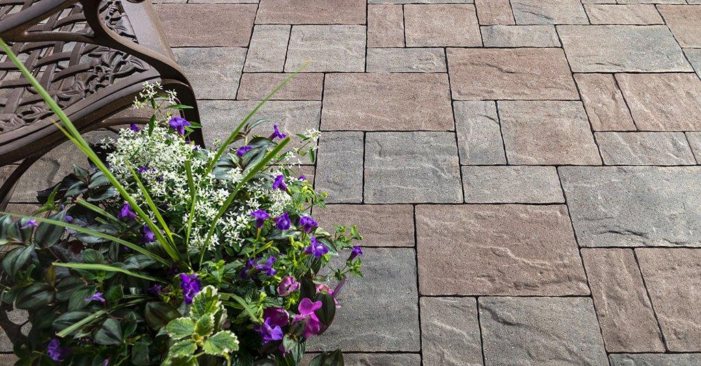 Unilock Westport square and rectangular pavers used for patio