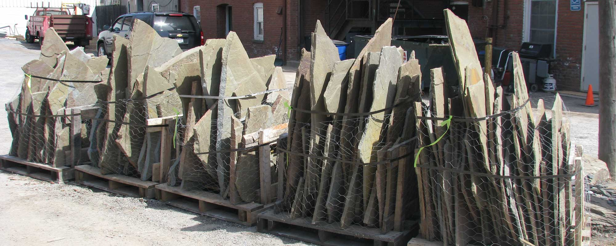 Pallets of Bluestone Irregular Cuts