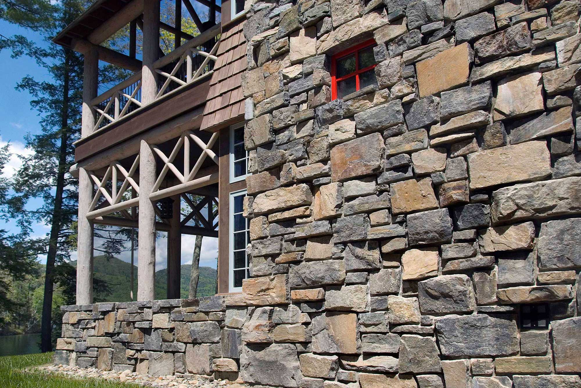 Exterior home wall made from stone building products.