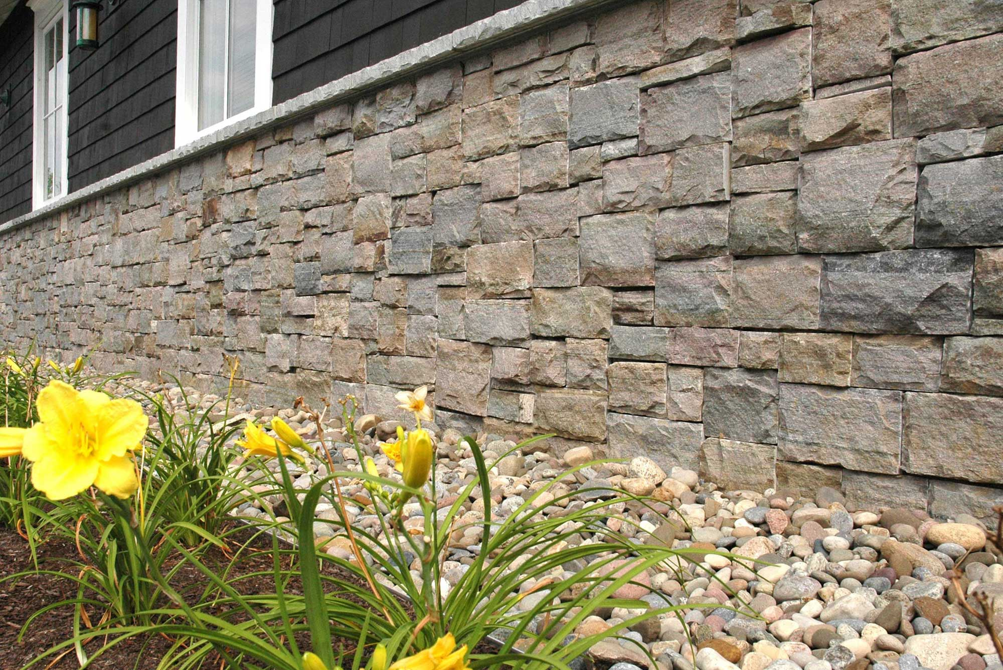 House exterior wall built with Crown Point granite