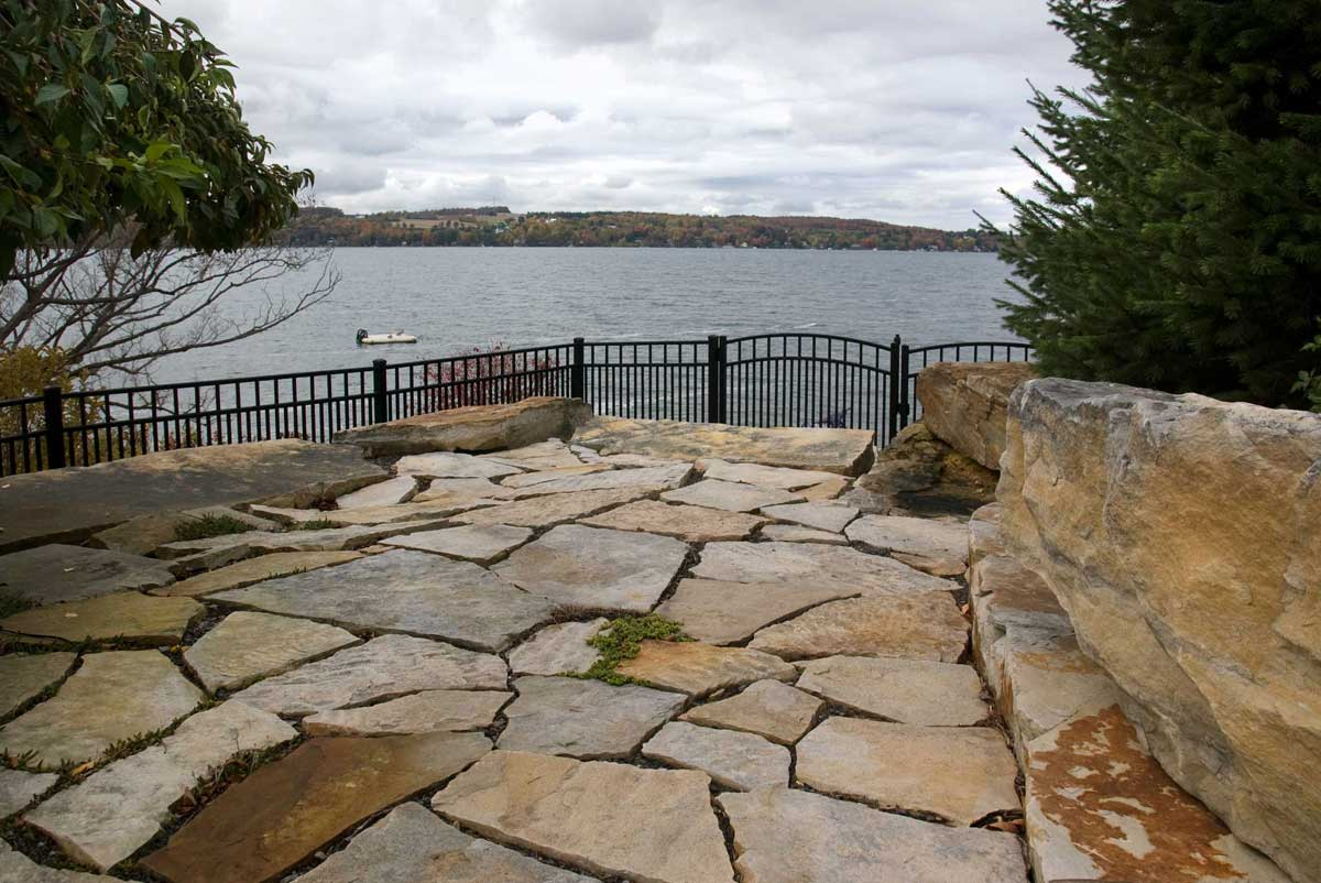 Stone patio looking over water