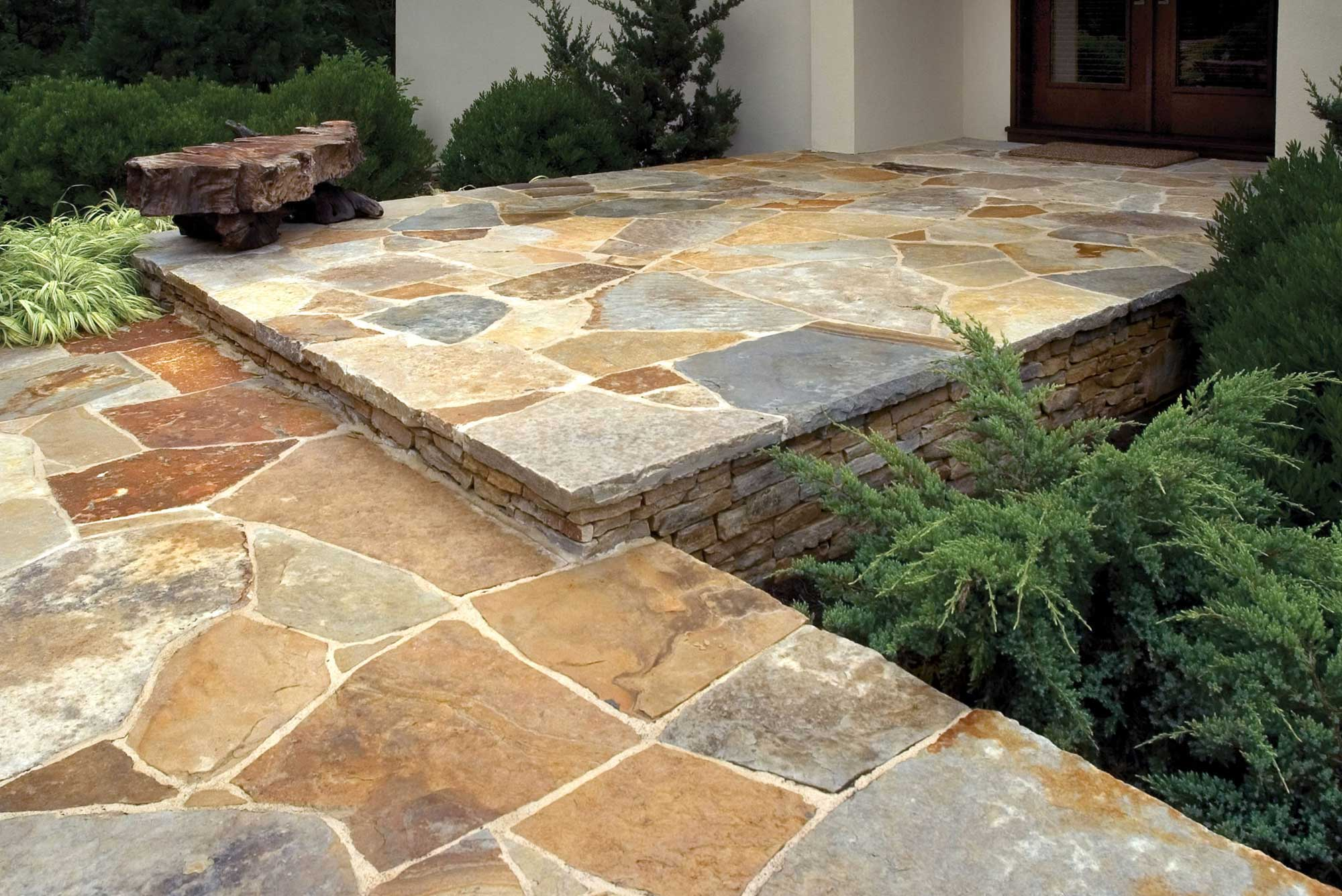 Stone walkway leading to home front door