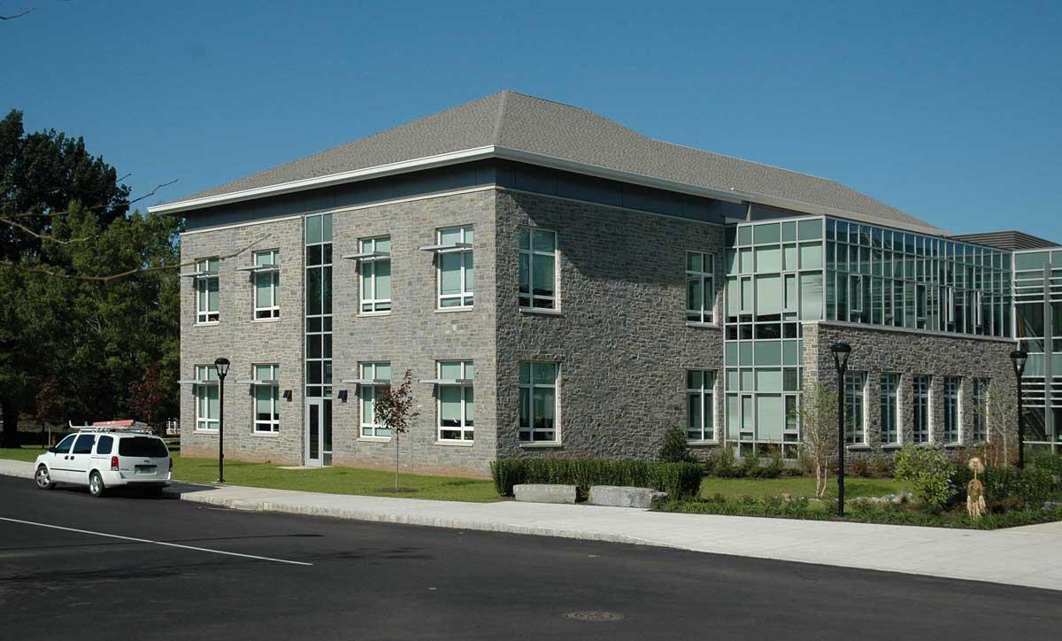 Large building exterior made of Wood Creek granite stone