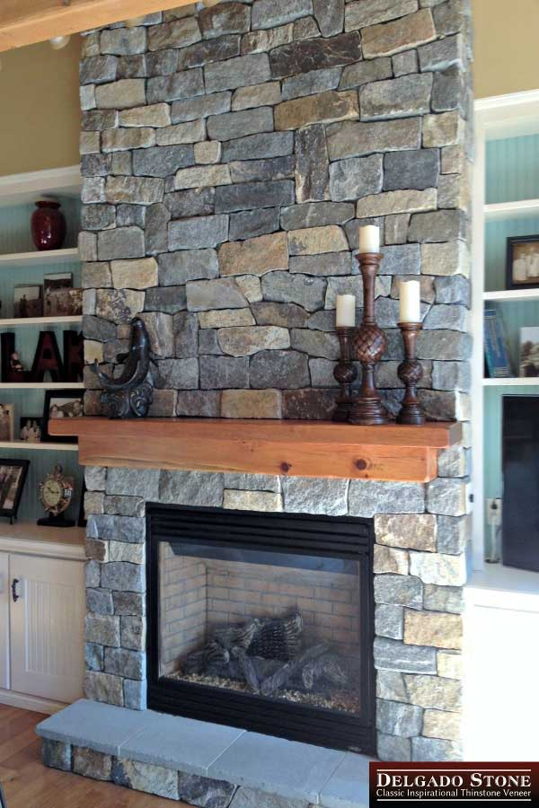 Fireplace wall made of Connecticut Blend thinstone veneer