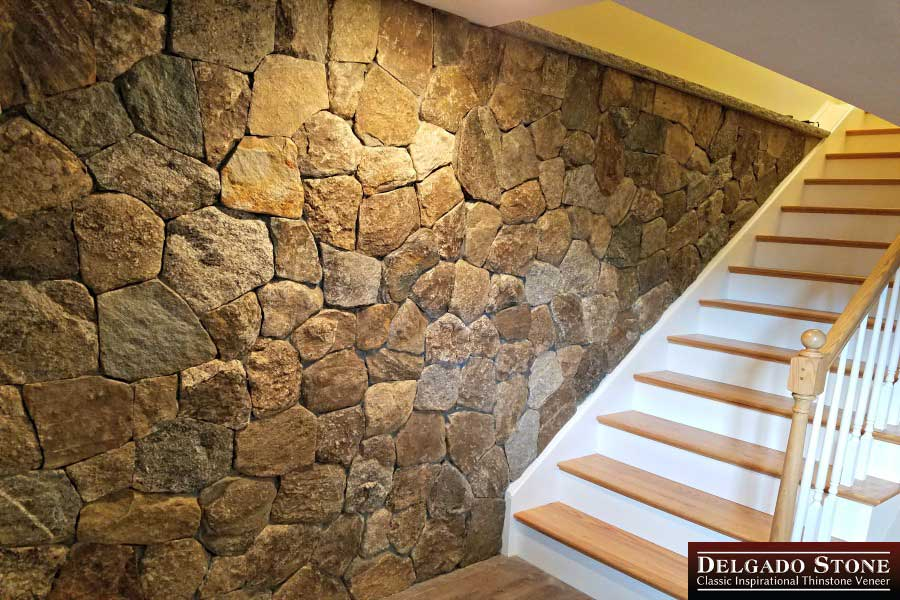 Basement wall with stairs made of Mosaic thinstone veneer