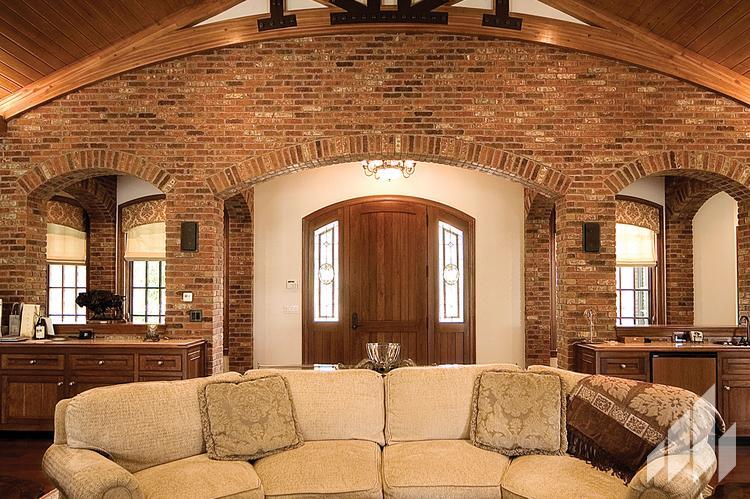 Manufactured veneers brick walls inside home