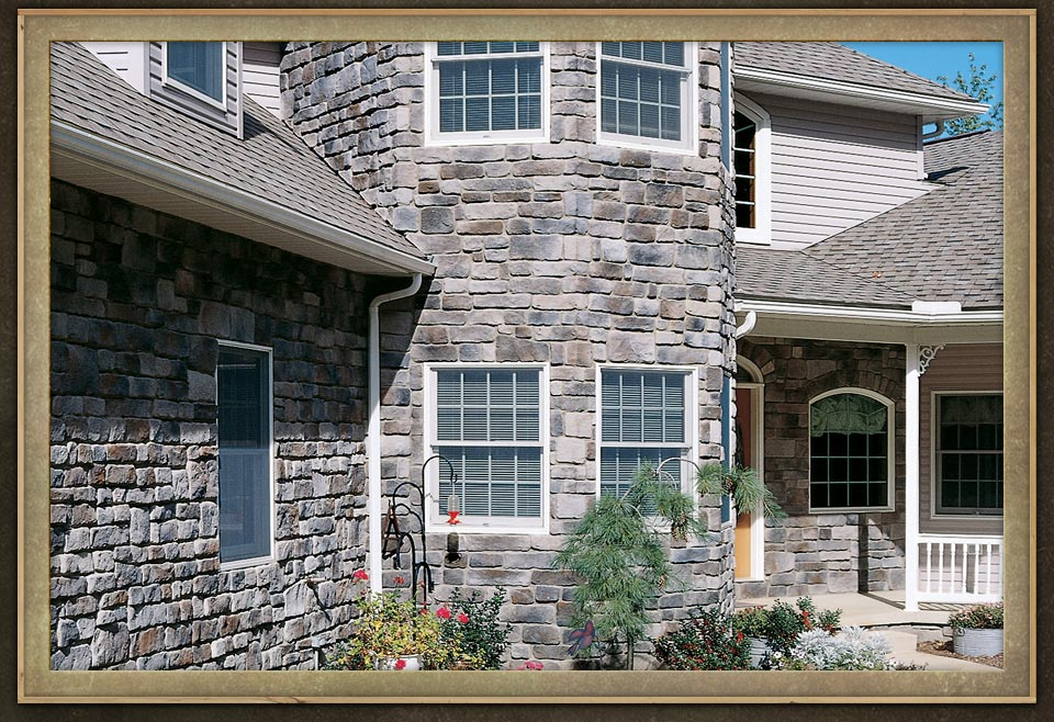 Manufactured veneers brick wall home exterior