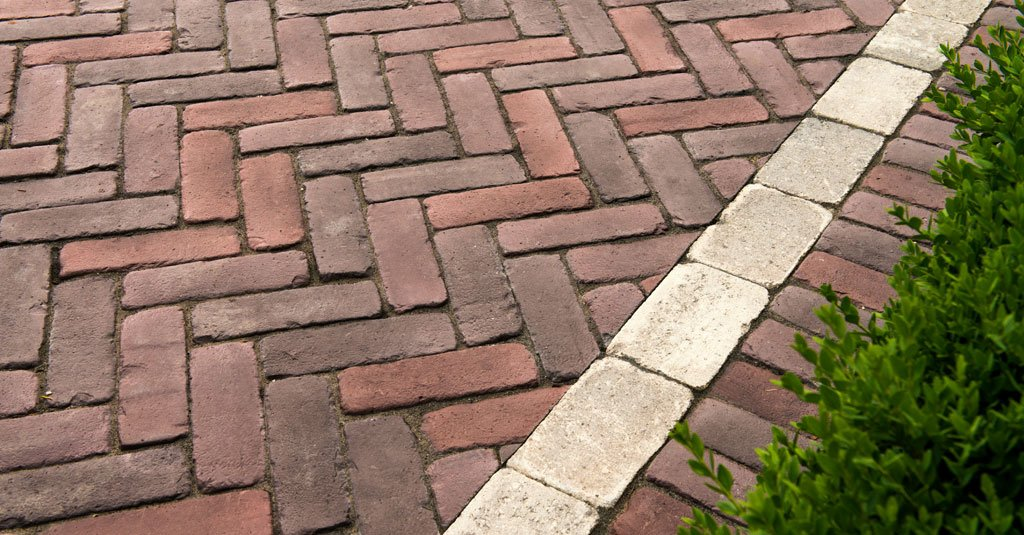 Red brick Unilock Copthorne pavers used for walkway