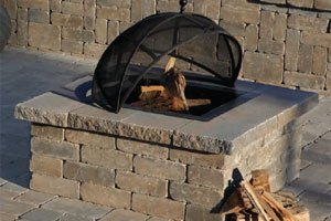 Old English Square fire pit kit with grate open on top