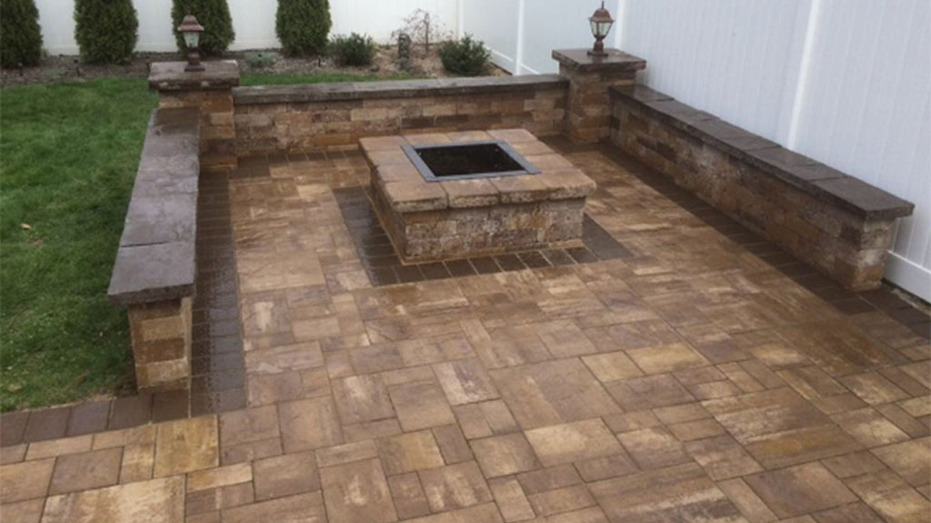 Old English Square fire pit kit matching stone patio and wall system