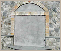 Gray veneer stone wall with doorway